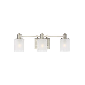 Norwood Brushed Nickel Three-Light Bath Vanity with Clear Highlighted Satin Etched Shade