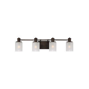 Norwood Burnt Sienna Four-Light Bath Vanity with Clear Highlighted Satin Etched Shade