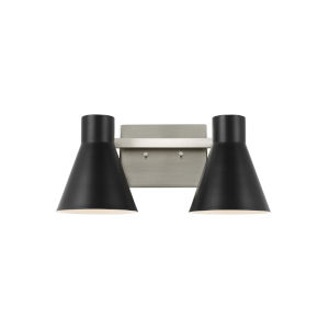 Towner Gray Two-Light Bath Vanity with Black Shade Energy Star