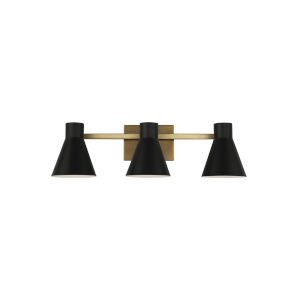 Towner Brown Three-Light Bath Vanity with Black Shade