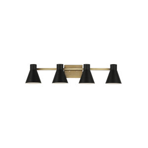 Towner Brown Four-Light Bath Vanity with Black Shade