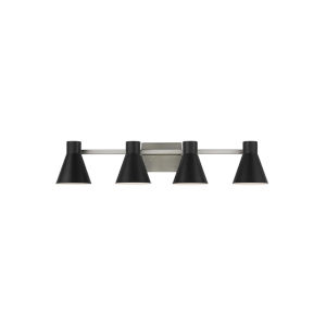 Towner Gray Four-Light Bath Vanity with Black Shade