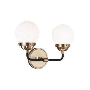 Cafe Satin Bronze Two-Light Bath Vanity with LED Bulbs