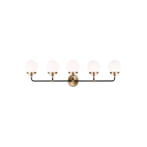 Cafe Satin Bronze Five-Light Bath Vanity
