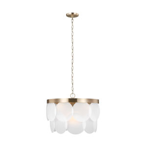 Mellita Satin Brass Six-Light Pendant with Satin Etched Shade