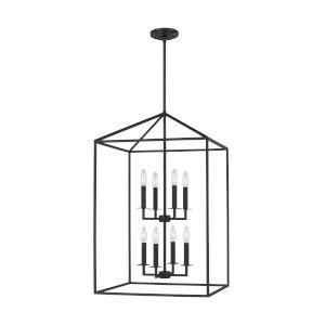 Perryton Midnight Black 19-Inch Eight-Light Pendant with LED Bulbs