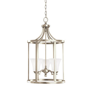Somerton Antique Brushed Nickel Energy Star Three-Light LED Pendant with Satin Etched Glass