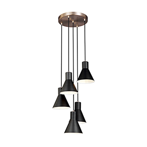 Towner Satin Brass 17-Inch Five-Light Pendant