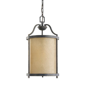 Roslyn Flemish Bronze Energy Star 11-Inch LED Pendant with Creme Parchment Glass