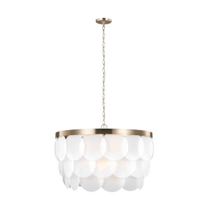 Mellita Satin Bronze Eight-Light Pendant with Satin Etched Shade
