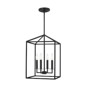 Perryton Midnight Black 12-Inch Four-Light Pendant with LED Bulbs