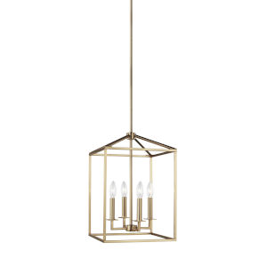 Perryton Satin Brass 12-Inch Four-Light Pendant Energy Star