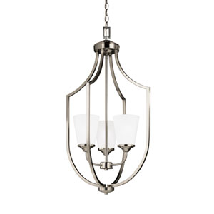 Hanford Brushed Nickel Energy Star 18-Inch Three-Light LED Pendant with Satin Etched Glass