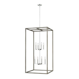 Moffet Street Washed Pine Eight-Light Pendant Energy Star