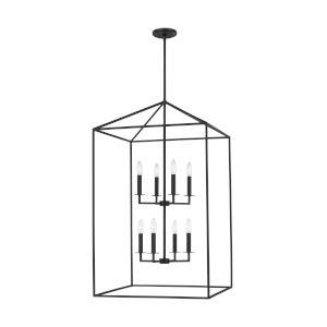 Perryton Midnight Black Eight-Light Pendant with LED Bulbs