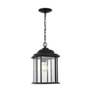 Kent Black One-Light Outdoor Pendant with Clear Beveled Shade