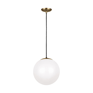 Leo Hanging Globe Satin Bronze 14-Inch One-Light Pendant