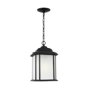 Kent Black One-Light Outdoor Pendant with Satin Etched Shade