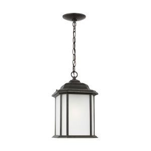 Kent Oxford Bronze One-Light Outdoor Pendant with Satin Etched Shade Energy Star