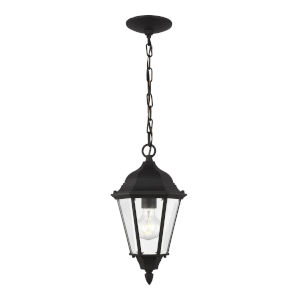 Bakersville Black One-Light Outdoor Pendant with Satin Etched Shade