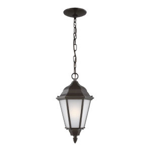 Bakersville Heirloom Bronze One-Light Outdoor Pendant with Satin Etched Shade Energy Star
