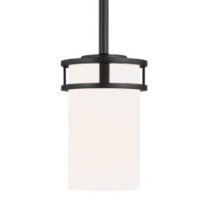 Robie Midnight Black One-Light Mini Pendant with Etched White Inside Shade