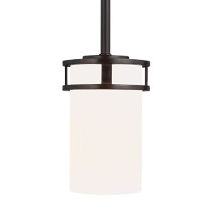 Robie Bronze One-Light Mini Pendant with Etched White Inside Shade