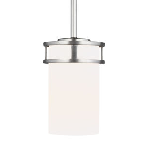 Robie Brushed Nickel One-Light Mini Pendant with Etched White Inside Shade