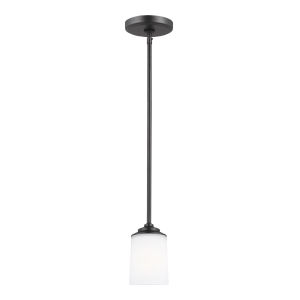 Kemal Midnight Black One-Light Mini Pendant with Etched White Inside Shade Energy Star