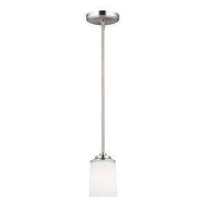 Kemal Brushed Nickel One-Light Mini Pendant with Etched White Inside Shade Energy Star