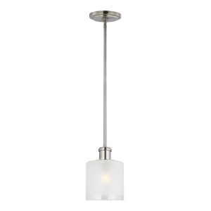 Norwood Brushed Nickel One-Light Mini Pendant with Clear Highlighted Satin Etched Shade Energy Star