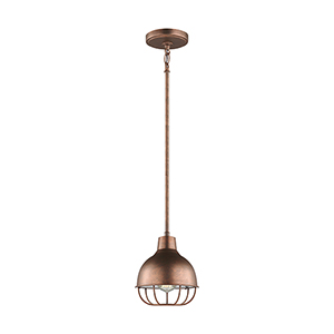 Jeyne Weathered Copper Energy Star Eight-Inch One-Light Mini Pendant