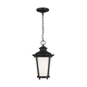 Cape May Black One-Light Outdoor Pendant with Etched White Inside Shade