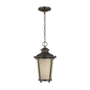 Cape May Burled Iron One-Light Outdoor Pendant with Etched Hammered with Light Amber Shade
