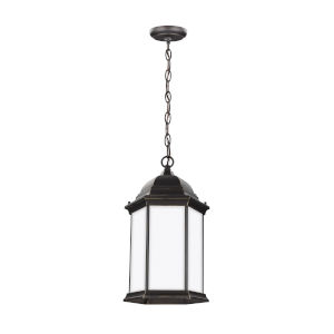 Sevier Antique Bronze One-Light Outdoor Pendant with Satin Etched Shade
