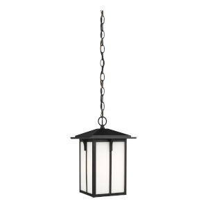 Tomek Black One-Light Outdoor Pendant with Etched White Shade Energy Star