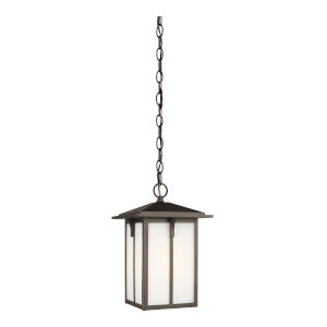 Tomek Antique Bronze One-Light Outdoor Pendant with Etched White Shade Energy Star