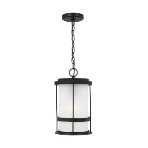 Wilburn Black One-Light Outdoor Pendant with Satin Etched Shade