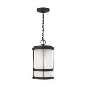Wilburn Antique Bronze One-Light Outdoor Pendant with Satin Etched Shade