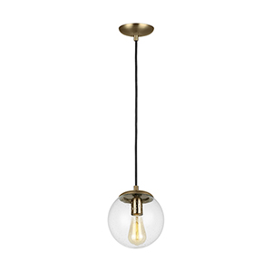Leo Hanging Globe Satin Brass LED Mini Pendant