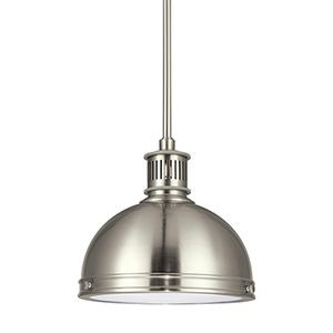 Pratt Street Metal Brushed Nickel 10-Inch LED Mini Pendant