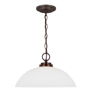 Oslo Bronze One-Light Pendant with Etched White Inside Shade Energy Star