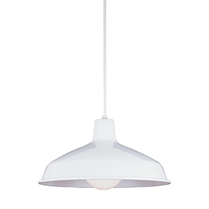 Painted Shade White One-Light Pendant