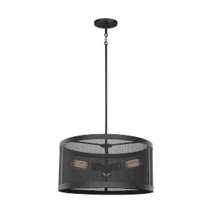 Gereon Black Three-Light LED Mesh Drum Pendant