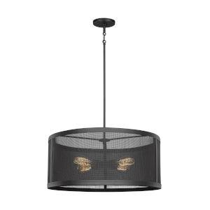 Gereon Black Four-Light LED Mesh Drum Pendant