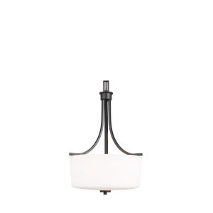 Kemal Midnight Black Three-Light Pendant with Etched White Inside Shade