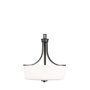 Kemal Midnight Black Three-Light Pendant with Etched White Inside Shade Energy Star