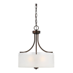 Norwood Bronze Three-Light Pendant with Clear Highlighted Satin Etched Shade