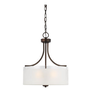 Norwood Burnt Sienna Three-Light Pendant with Clear Highlighted Satin Etched Shade Energy Star