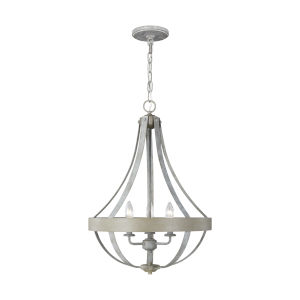 Davlin French Washed Oak Three-Light Pendant